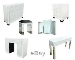 White Mirrored Furniture Glass Dressing Table Bedroom Console Bevelled Venetian