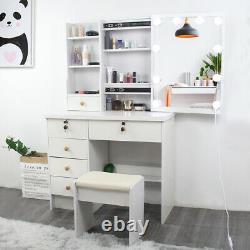 White Modern Dressing Makeup Table with LED Sliding Mirror, Stool and 6 Drawers