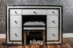 White mirrored / glass 7 drawer dressing table + stool -Modern bedroom furniture
