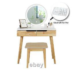 Wooden Dressing Table Vanity Makeup Desk Stool LED Lighted Mirror Organiser New