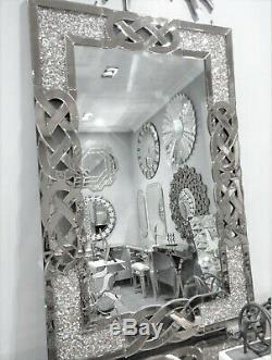 120x80 Diamant Crush Cristal Vinaigrette Argent Mur Miroir Rectangle Gatsby Bling