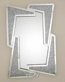 120x80 Diamant Crush Cristal Vinaigrette Argent Mur Rectangle Miroir Service Gatsby