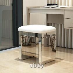 2 Tiroirs De Luxe Miroir Dressing Table Mirror Stool Vanity Dresser Set -uk