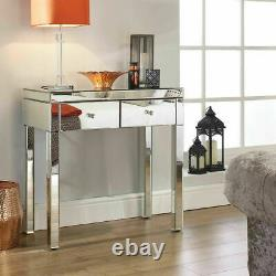 2 Tiroirs High Gloss Console Makeup Vanity Table Dresser Mirrored Dressing Table