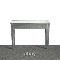 2 Tiroirs Mirrored Vanity Maquillage Bureau Console Dressing Argent Table En Verre Moderne
