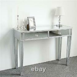 2 Tiroirs Table D'habillage En Verre Table De Maquillage De La Console De Chambre Miroir