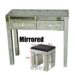 2 Tiroirs Verre Mirrored Coiffeuse Avec Miroir Tabouret Console Meubles