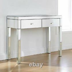 2xdrawers Mirrored Glass Dressing Table Console Vanity Make-up Desk Royaume-uni
