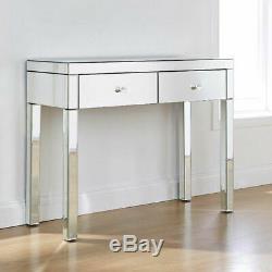 2xdrawers Verre Mirrored Coiffeuse Chambre Console Vanity Bureau De Maquillage Au Royaume-uni
