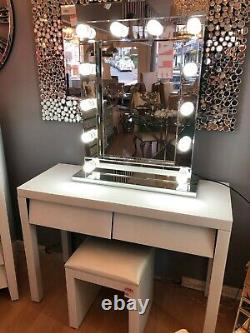 2xdrawers White Glass Dressing Table Console Vanity Make-up Desk Royaume-uni