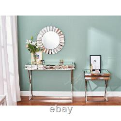 3d Glass Design Dressing Table Mirrored Bedroom Make-up Console Vanity Table Royaume-uni