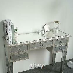5 Tiroirs Dressing Table Miroir Vanity Makeup Dresser Glass Bedroom Console