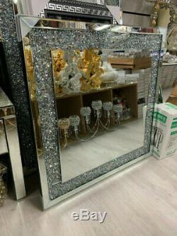 80x80 Diamant Crush Cristal Vinaigrette Argent Mur Miroir Rectangle Gatsby Bling