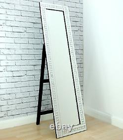 Alma Verre Cristal Argent Frame Cheval Robe Autoportant Étage Miroir 16x 60