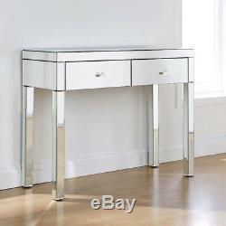 Anjohn Verre Mirror 2 Tiroirs Coiffeuse Tabouret (withb) Et Verre Set Desk