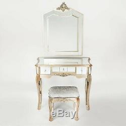 Antique Champagne Or Pâle Mirrored Verre Coiffeuse Set Tabouret Miroir