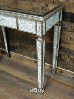 Antique Crackle Verre Mirrored Coiffeuse Salle Console Lampe De Table Table D'appoint