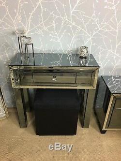 Arctique Noir Verre Fumé 1 Tiroir Mirrored Chambre Dressing Salle Console