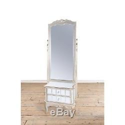 Argent Antique Français Cheval Mirrored Verre Miroir Avec Tiroirs Dressing Armoire