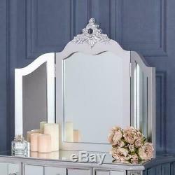 Argent Coiffeuse Mirrored Miroir Tabouret Meuble De Verre Vénitien Chic