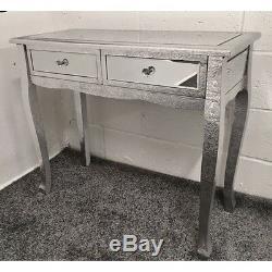 Argent Métal Estampé Mirrored Slim Leg Dressing Console Table Bureau Salle