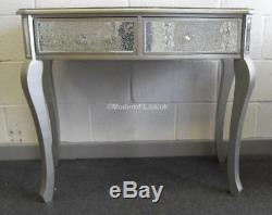 Argent Miroir Mosaïque Table Console Habillage 2 Tiroirs Avec La Jambe D'argent Antique