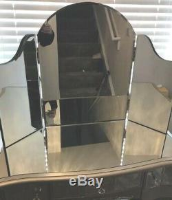 Argent Miroir Table De Toilette Avec Miroir Triple Venitian Verre Chambre Chic