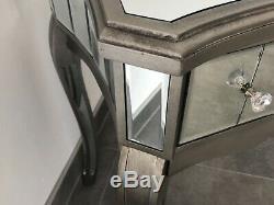 Argent Mirrored Coiffeuse Avec 1 Verre Tiroir Vénitien Console Hall D'entrée