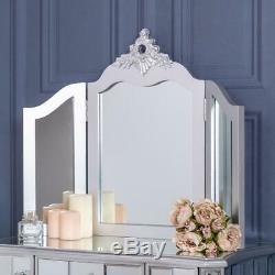 Argent Mirrored Coiffeuse Et Triple Miroir Vénitien En Verre Chic Chambre