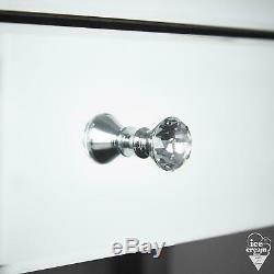 Argent Mirrored Coiffeuse Tiroir Cristal Poignée Chambre Rangements Pour Bijoux