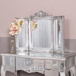 Argent Mirrored Coiffeuse Triple Ornement Miroir Vénitien En Verre Chic Chambre