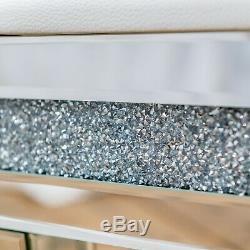 Argent Mirrored Verre Pilé Diamant Blanc Glitzy Coiffeuse Tabouret Vanity