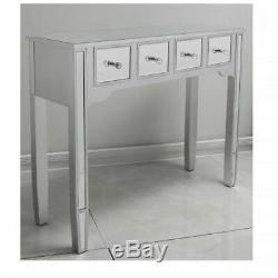 Argent Pansement Console Table Tiroirs Verre Vénitien Mirrored Chambre Hall D'entrée