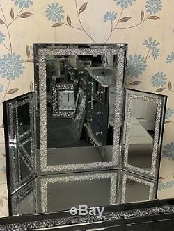 Argent Sparkly Crushed Cristal De Diamant Glitz Trois Volets Coiffeuse Miroir