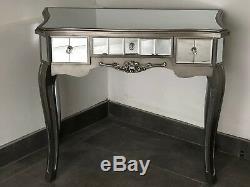 Argente Verre Mirrored Français Dressing Table Console Avec Garniture Argent