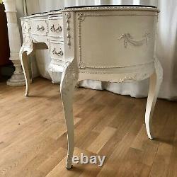 Beau Dessus Antique De Verre De Table D'habillage De Cru Et Miroir Et Tabouret De Bi-pli
