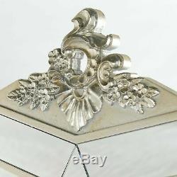 Bella Mirrored Coiffeuse Vanity Set Antique Silver Française Tabouret Console Nouveau