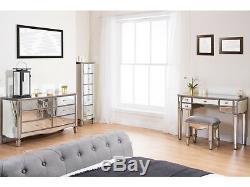 Birlea Elysée Mirrored Verre Chambre Mobilier De Chevet Commode Coiffeuse