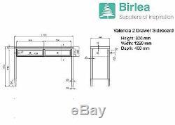 Birlea Valencia Mirror 2 Console Tiroir Biseautées Miroir Coiffeuse