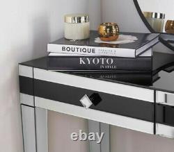 Black Mirrored Dressing Table Drawer High Gloss Bedroom Glass Mirror Makeup Desk