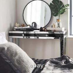 Black Mirrored Dressing Table Tiroirs High Gloss Glass Mirror Make Up Desk Nouveau