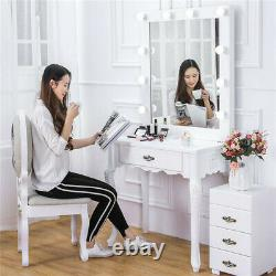 Blanc 10 Led Miroir Lumière Chambre Dressing Hollywood Vanity Makeup Table Dresser