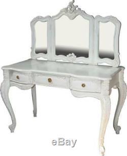Blanc Antique Acajou Reproduction Victorienne Coiffeuse + Miroir