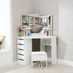 Blanc Bois D'angle Coiffeuse Miroir De Maquillage Bureau Tabouret Tiroir Ensemble De Chambre