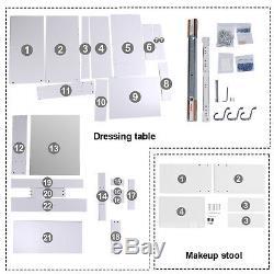 Blanc Coiffeuse Ensemble Miroir Coulissante 1 Tiroir De Rangement De Maquillage Tabouret Nouveau Bureau