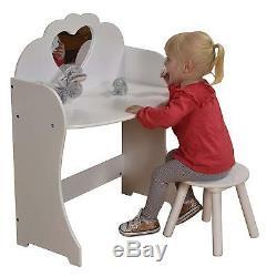 Blanc Pour Enfants Enfants Filles Vanity Coiffeuse Ensemble Avec Le Coeur Tabouret Et Miroir