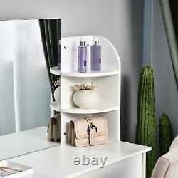 Bois Élégant Coiffeuse Avec Miroir, Grands Tiroirs, Biblioposte Chambre Blanc