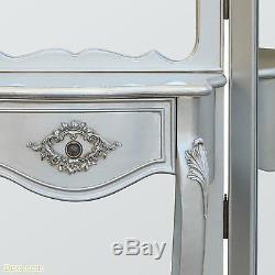 Boudoir Provence Argent Pansement Tri Panneau Miroir Écran W142 X D35 X H185