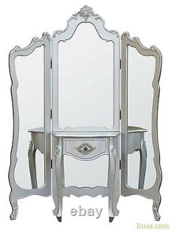 Boudoir Provence Silver Dressing Tri Panel Mirror Screen W142 X D35 X H185