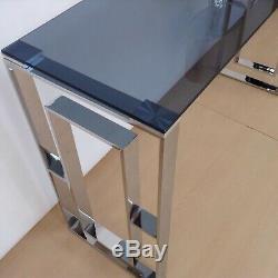 Bude Grand Verre Fumé Et Mirrored Console Coiffeuse Largeur 120 CM